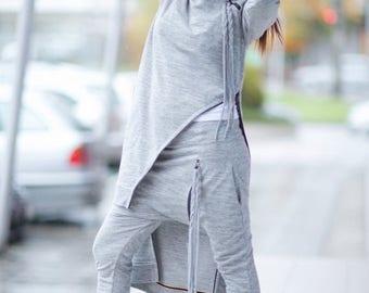 15% SUMMER SALE Elegant Tricot set, Grey Sports Zipper Set, Harem Pants Set,  Drop Crotch Pants, Grey Asymmetric Turtleneck Blouse by EUG Fa