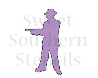 20's Gangster Silhouette Cookie Stencil