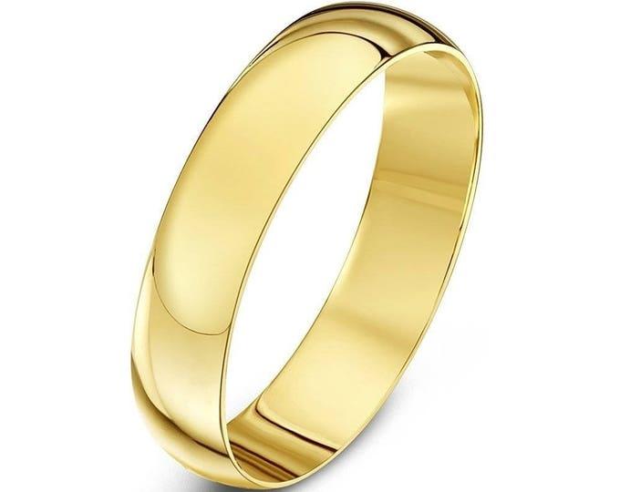4 mm Cobalt Chrome  18K Gold Plated Domed Shape Polished Ring Wedding Band - Comfort fit