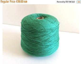 ON SALE Large Vintage Green Thread Spool - Vintage Sewing Bobbin - Industrial, Workshop, Boutique Decor