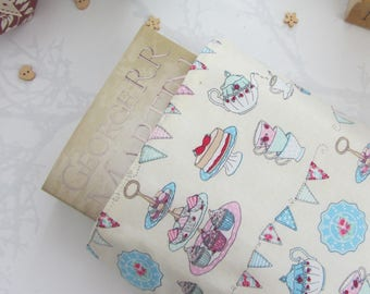 Tea Party Book Sleeve - Book Cover - Book Protector - Bookworm Gift - Reusable Book Cover - Paperback Cover - Fabric Book Cover - Handmade