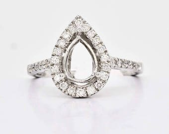 ON SALE 18K White Gold and Diamond Engagement Ring Semi Mount 3.8 grams