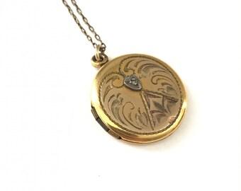 Vintage Round Gold Filled Locket with Etched Design
