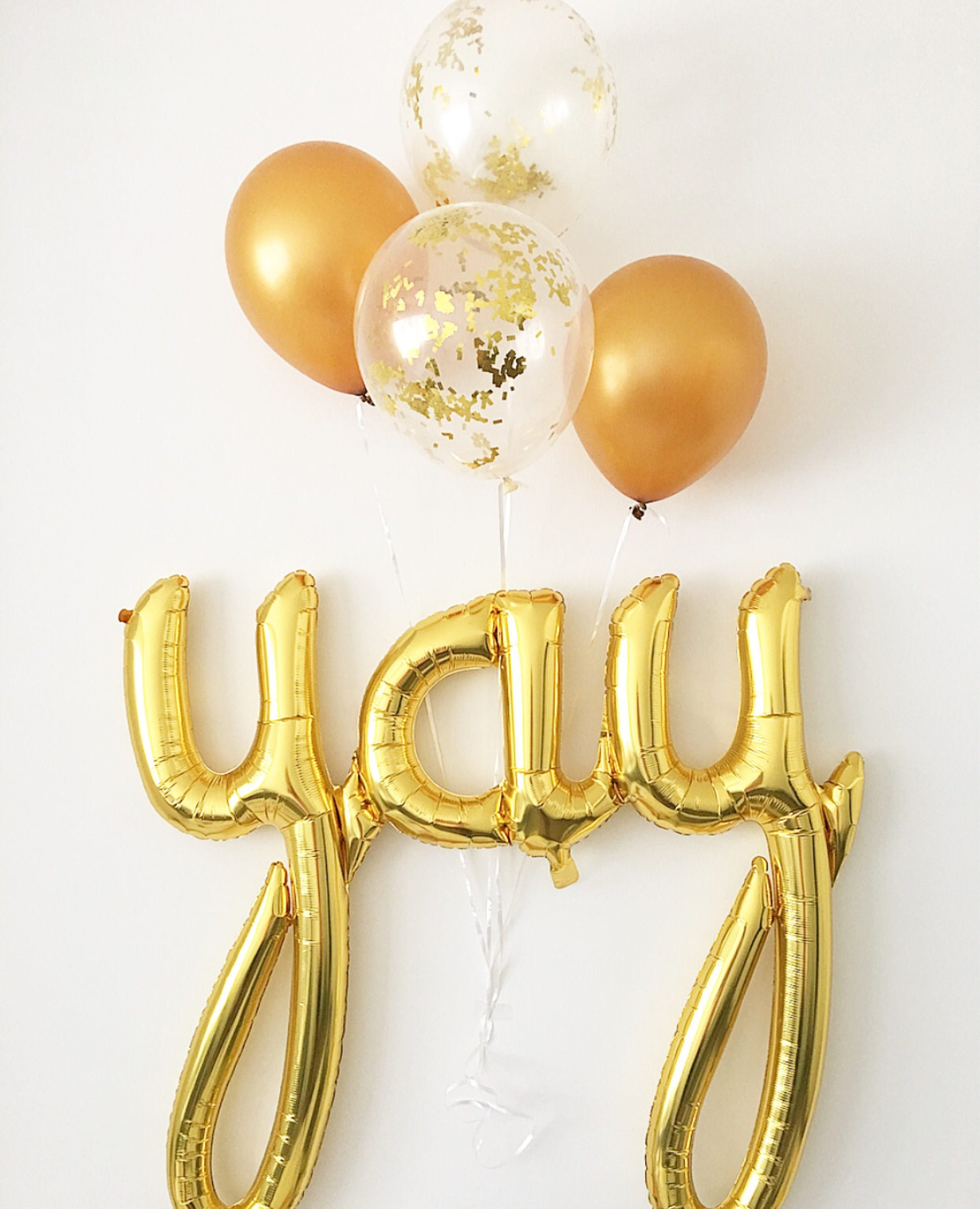 Yay gold script balloon graduation balloons engagement for Wedding shower balloons