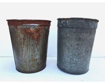 vintage metal trash bins vintage waste baskets vintage trash can