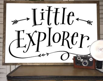 Kids Room Decor | Little Explorer Sign |  Wood Framed Sign | Farmhouse style | Nursery Decor