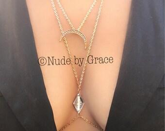 Pave Moon Middle Rhinestone Gold tone Necklace Body Chain, body jewelry, bikini body jewelry, gold necklace. body cross necklace, necklace