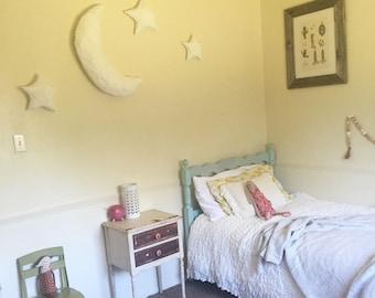 Paper Mâché Moon and Stars Nursery/Children Room Decor, Mobile/Wall Art