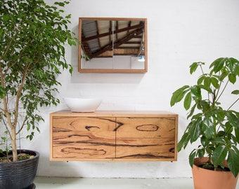 Recycled timber double vanity - 1 door, 2 drawer