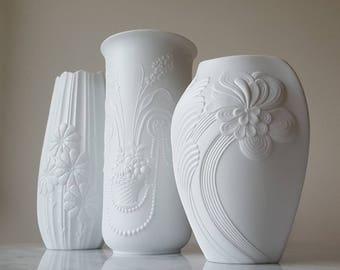 Kaiser Germany Bisqueware Vases 1970's M. Frey White Mid Century Modern White Textured Pottery Set Of 3 Floral Patterns 0330, 1335/2, 0245