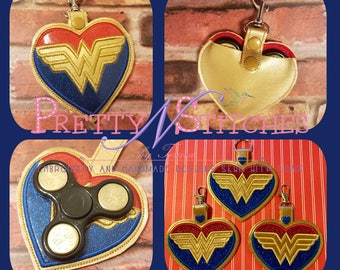 COMBO-ITH Amazon Princess Gold Heart Spinner case 4.5, 5, 5X7, 6X10, and SnapTabKey Fob   3.9, 4.5, 5, 5X7, 6X10 hoops Embroidery Design