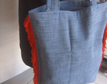 Handmade tote bag with red fringe