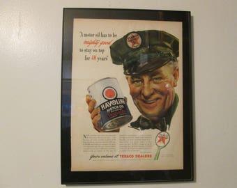 "1942 HAVOLINE MOTOR OIL Texaco Dealers  Ad ...  ... 10 1/2"" x 14"""