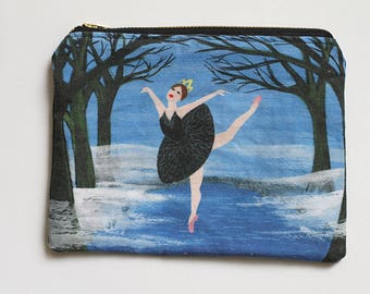 Swan Lake Canvas Zip Pouch