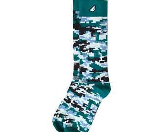 "Digital Camo Men's Dress / Casual Socks - Dark Green & Brown Casual / Dress Digicamo - ""Ranger"" Christmas Holiday Gift Stocking Stuffer"