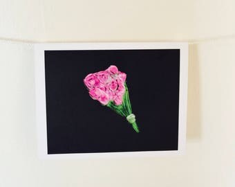 Pink Rose Note Cards with Envelopes