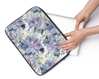 Laptop Sleeve Succulent Pattern  - Available in 3 sizes
