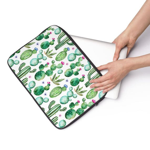 Laptop Sleeve Cactus Succulent Pattern Laptop Sleeve  - Available in 12 inch, 13 inch and 15 inch sizes