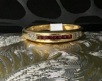 14k Yellow Gold Ruby Ring with Diamonds