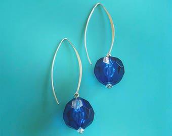 Fun Royal Blue Orb Earrings