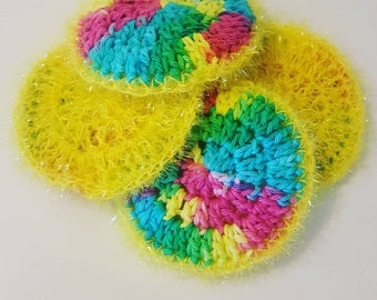 3 pc Set of Colorful 2 Sided Handmade Crochet Scrubby & Dish Towels, Washable Kitchen/Bathroom Sponges, Cleaning Supplies by urbcoco