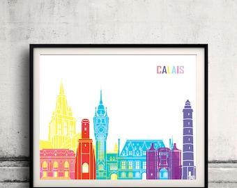 Calais skyline pop - Fine Art Print Glicee Poster Gift Illustration Pop Art Colorful Landmarks - SKU 2401
