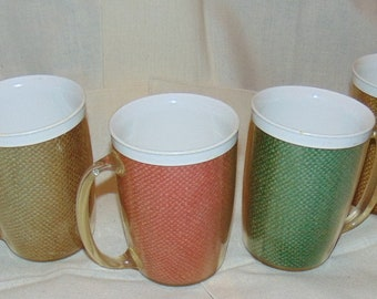 6 Vintage Burlap and Plastic Mugs Cups Picnic Kitchen