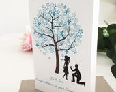 Newly Engaged Couple Gift Blue Cherry Blossom Tree Congratulations On Your Engagement Card Personalised Engagement Gift for Couple Handmade