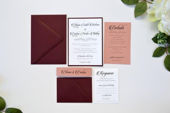 like this item - Burgundy Wedding Invitations