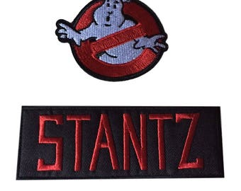 Ghostbusters No Ghost With Stantz Red on Black Name Tag Costume Patch Set of 2