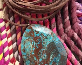 Vegan Leather + Large Ocean Jasper | Adjustable Choker Necklace | Triple Wrap | Reiki Love Infused | Spiritual Junkies | Yoga + Meditation