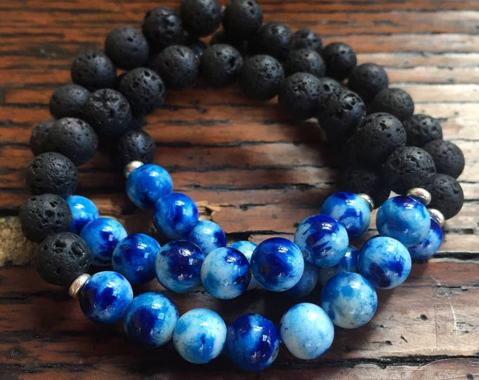 Mala Inspired Essential Oil Diffuser Lava Bead + Mixed Blue Jade Spiritual Junkies Yoga and Meditation Bracelet  (1 kids jewelry bracelet)