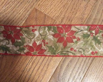 Red Green Gold Metallic Sheer Poinsettia Wire Edge Ribbon Christmas Tree Holiday Bow
