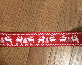 Red White Reindeer Wire Edge Ribbon Merry Christmas Tree Holiday Bow