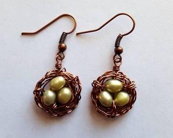 Green Freshwater Pearl Birds Nest Earrings