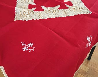 Vintage Square Linen Cotton Tablecloth Red W/ Antique White Lace   European  Embroidered Flowers Lace