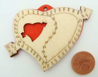 2 PENDENTIFS bois peint COEUR Amour personnalisable 61mm PB45 bijoux déco