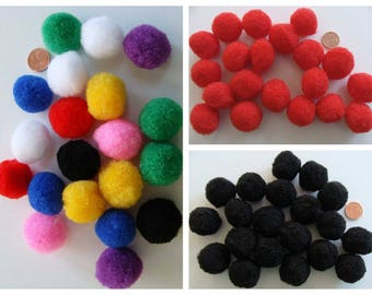 20 pompons ronds 25mm environ peluches polyester au choix
