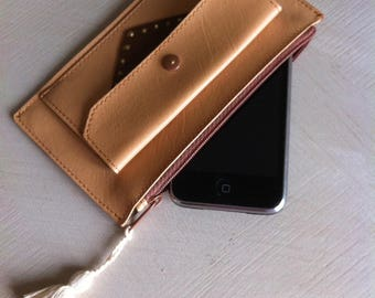 faux leather and leather pouch wallet