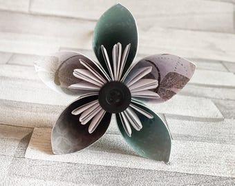 Light teal paper flowers, teal, black buttons, bouquet, floral arrangement, colourful, wedding center piece