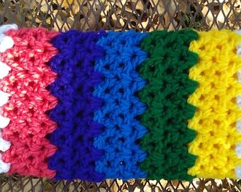 Handmade Rainbow LGBTQ Blanket Throw Blanket Chunky Blanket Baby Nursery Baby Shower Gift Handmade Crochet Cottage Chic Style Ready to Ship