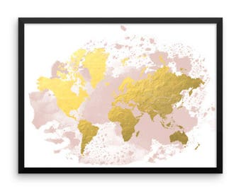 Blush World Map, Framed World Map, Watercolor Map, Gold Foil Map, World Map Wall Decor, Wall Art, Home Decor, Nursery Decor