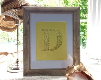 8x10 Custom one letter monogram, any letter, choose background & ink colors - fill with your own words, dates, quotes, etc.!