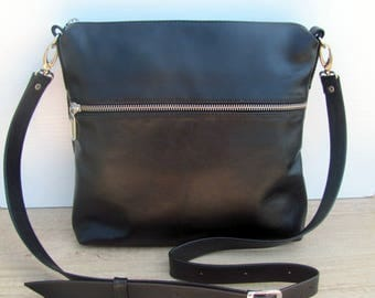Personalised black leather crossbody bag, FREE personalization, women purse, Christmas gift