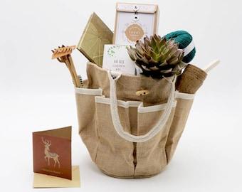 Eco Gardening Gift Bag, Christmas gift for gardeners, Gardening tool bags, Gardening tote bag, Gardeners gift, Succulent gift hamper