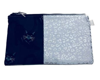 Black and Silver Cat Multi Purpose Zippered Pouch Makeup Bag, Gadget Bag, Pencil Case, Handmade in the UK