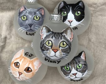 """Custom Cat Ornament (2.75"""") - Hand Painted, Made to Order for Christmas"""
