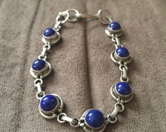 Vintage Silvertone and Blue Stone Design Bracelet, 7 3/4'' Long