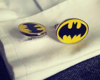 Batman cufflinks men's black Dark Knight cufflinks DC Superhero cufflinks