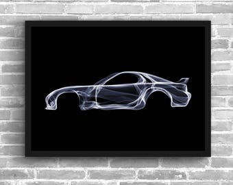 Mazda rx7 mazda art mazda car rx7 art gift for him wall decor office decor man cave home decor wall art car poster kids room car print